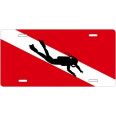Diver Silhouette on Dive Flag License Plate
