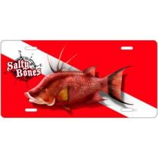 Salty Bones Hogfish Diving License Plate