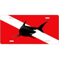 Shark Silhouette on Dive Flag License Plate