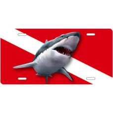 Jaws Great White on Dive Flag License Plate