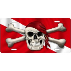 Skull and Crossbones on Dive Flag License Plate