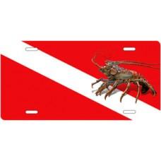 Lobster on Dive Flag Offset License Plate