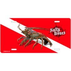 Salty Bones Lobster Diving License Plate