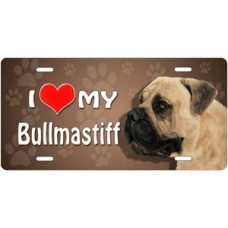 I Love My Bullmastiff on Paw Prints License Plate