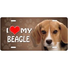 I Love My Beagle on Paw Prints License Plate