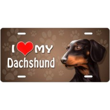 I Love My Dachschund (Black) on Paw Prints License Plate