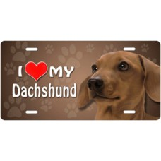 I Love My Dachschund (Brown) on Paw Prints License Plate