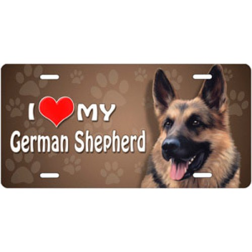 I Love My German Shepard License Plate