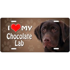 I Love My Chocolate Lab on Paw Prints License Plate