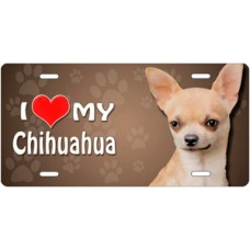 I Love My Chihuahua on Paw Prints License Plate