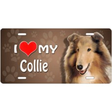 I Love My Collie on Paw Prints License Plate