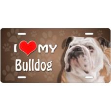 I Love My Bulldog on Paw Prints License Plate