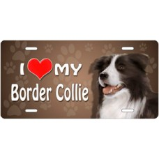I Love My Border Collie on Paw Prints License Plate