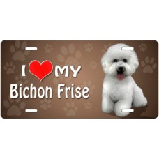 I Love My Bichon Frise on Paw Prints License Plate