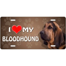I Love My Bloodhound on Paw Prints License Plate