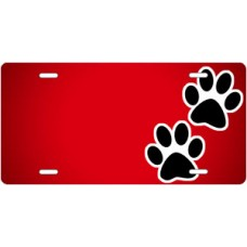 Black Paw Prints on Red Offset License Plate