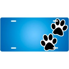 Black Paw Prints on Blue Offset License Plate