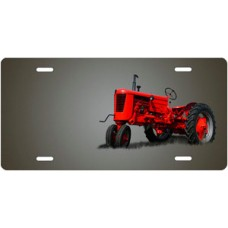 Red Tractor on Gray Offset License Plate