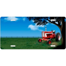 Red Tractor Offset License Plate