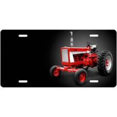 Red Tractor on Black Offset License Plate