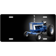 Blue Tractor on Black Offset License Plate