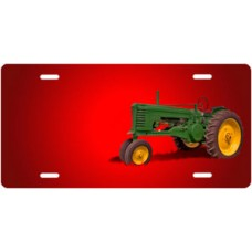 Green Tractor on Red Offset License Plate