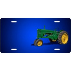 Green Tractor on Blue Offset License Plate