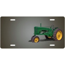 Green Tractor on Gray Offset License Plate