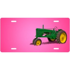 Green Tractor on Pink Offset License Plate