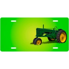 Green Tractor on Green Offset License Plate