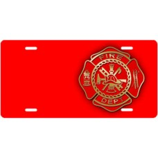 Fire Dept Seal on Red Offset License Plate
