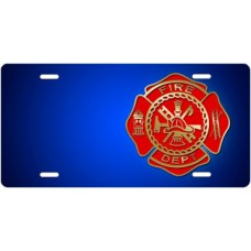Fire Dept Seal on Blue Offset License Plate