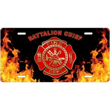 Fire Dept Battalion Chief on Realistic Flames License Plate