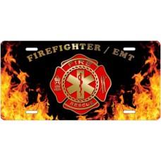 Fire Dept Firefighter / EMT on Realistic Flames License Plate
