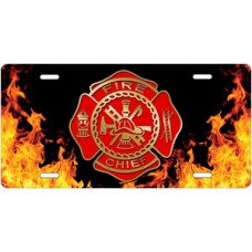 Fire Dept Chief Crest on Realistic Flames License Plate