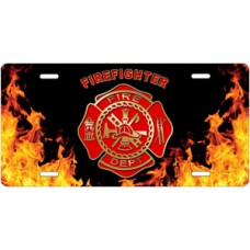 Fire Dept Firefighter on Realistic Flames License Plate