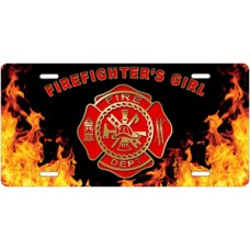 Fire Dept Firefighter's Girl on Realistic Flames License Plate