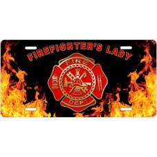 Fire Dept Firefighter's Lady on Realistic Flames License Plate