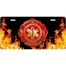 Fire Rescue Emblem on Realistic Flames License Plate