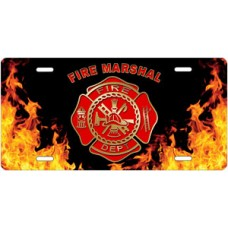 Fire Dept Fire Marshal on Realistic Flames License Plate