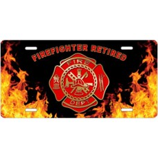 Fire Dept Firefighter Retired on Realistic Flames License Plate