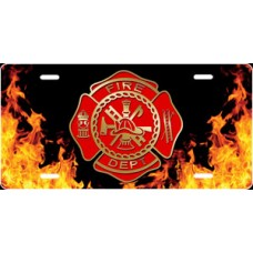 Fire Dept Crest on Realistic Flames License Plate