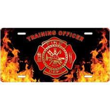 Fire Dept Training Officer on Realistic Flames License Plate
