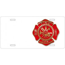 Fire Dept Crest on White Offset License Plate