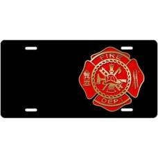 Fire Dept Crest on Black Offset License Plate