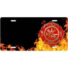 Fire Dept Crest on Realistic Flames Offset License Plate