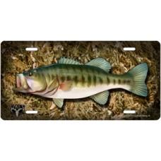 Bones Outdoors Largemouth Bass on Camo License Plate