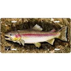 Bones Outdoors Rainbow Trout on Camo License Plate