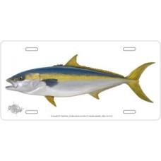 Yellowtail on White License Plate