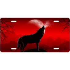 Howling Wolf on Red License Plate